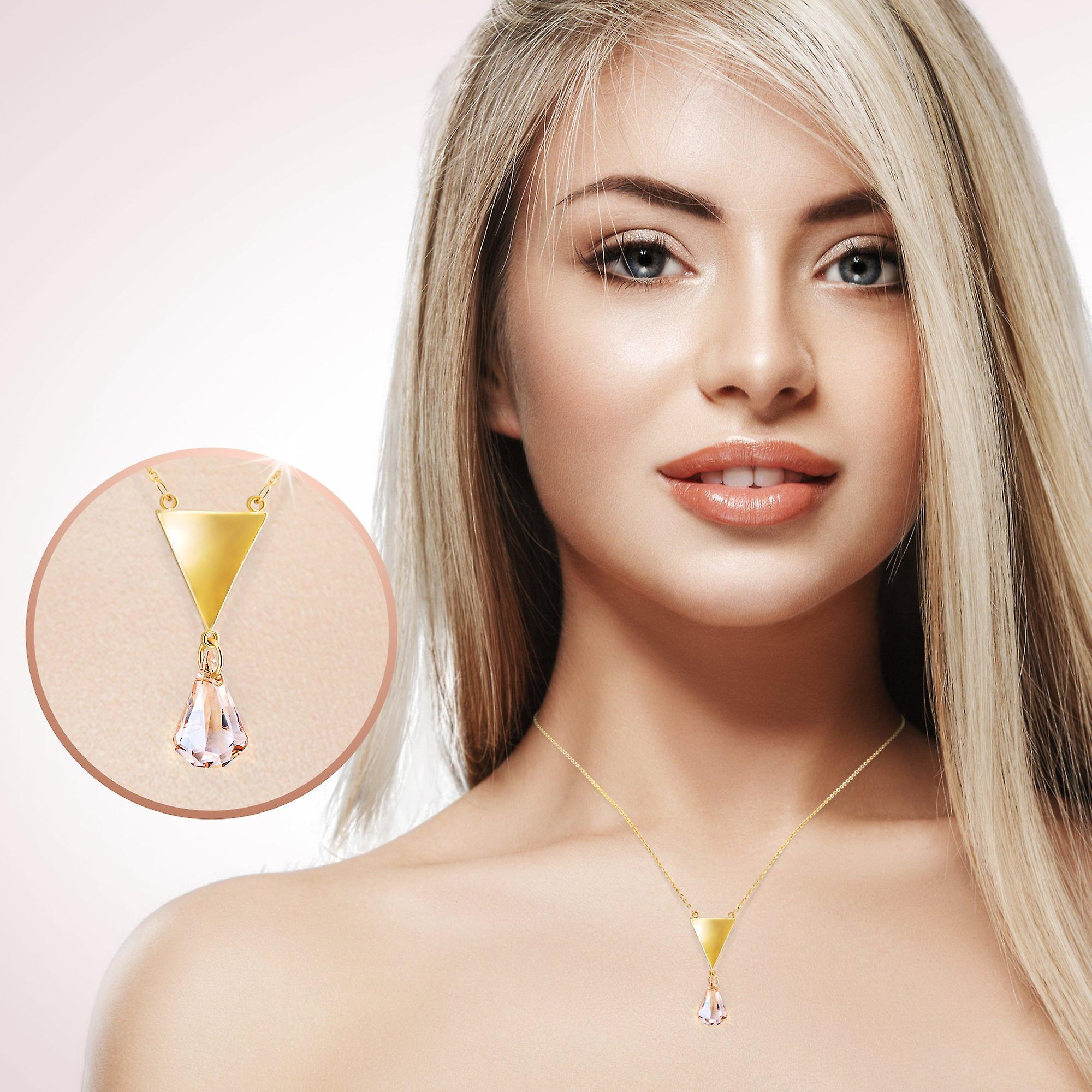 Gold plated necklace with swarovski crystal. pendant necklace. by 2splendid. gift box included. nqz004-gc