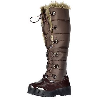 Onlineshoe Flat Knee High Fully Fur Lined Smart Snow Hiking Boot - Lace Up - Black, Brown