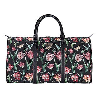 Marrel's tulip black travel big holdall by signare tapestry / bhold-jmtbk