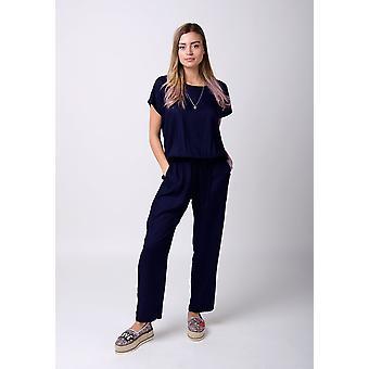 Peony ladies jumpsuit with short sleeve - blue