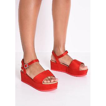 Faux Suede Strap Flatform Wedge Sandals Red