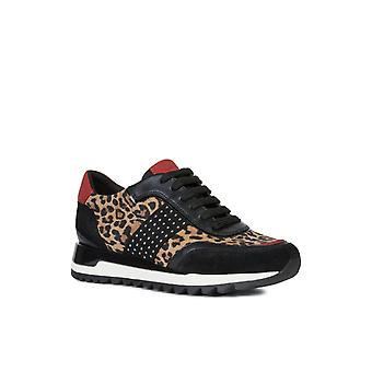 Geox Womens D Tabelya A Lace Up Trainers Tobacco/Black