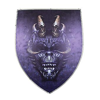 Devil wooden handmade leather grip viking gothic shield