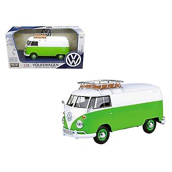 Volkswagen Type 2 (T1) Delivery Van Green/White 1/24 Diecast Model Car by Motormax