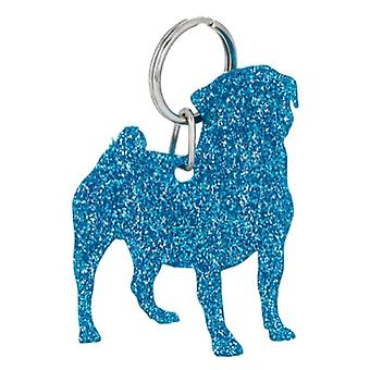 Blue Pug Style 3 Glitter Acrylic Keyring