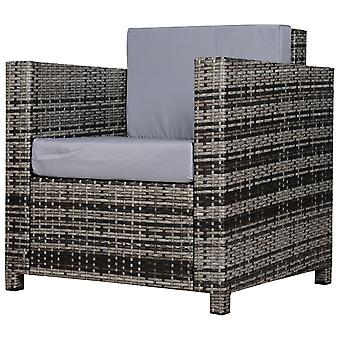 Rattan Armchair PP Wicker w/ Metal Frame Padded Cushions High Back Armrests Outdoor Garden Patio Balcony Single Seat Stylish Mixed Grey