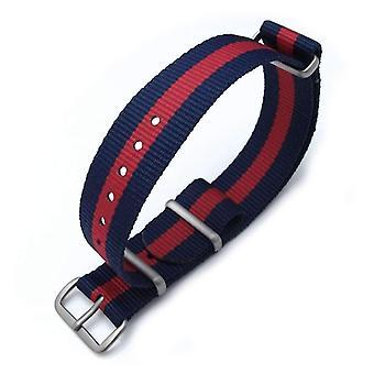 Strapcode n.a.t.o urrem miltat 18mm g10 militære urrem ballistiske nylon armbånd, børstet - mørkeblå og røde striber