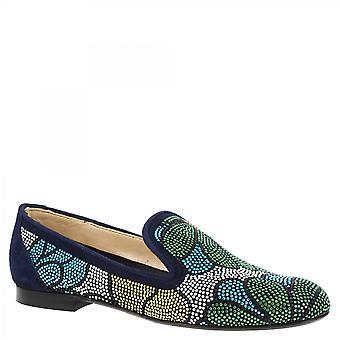 Leonardo Shoes Women-apos;s maison de ballet fait main flats bleu en daim strass multicolore