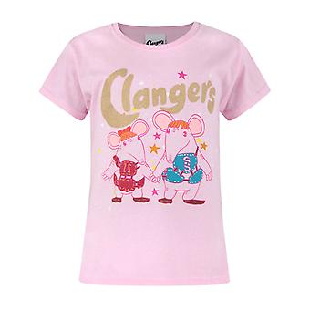 Clangers Characters Glitter Pink Short Sleeve Girl's T-Shirt