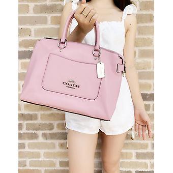 Coach f31467 emma tulip pink pebbled leather satchel bag