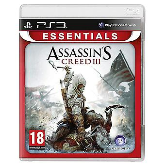 Assassins Creed III 3 Essentials PS3 Game