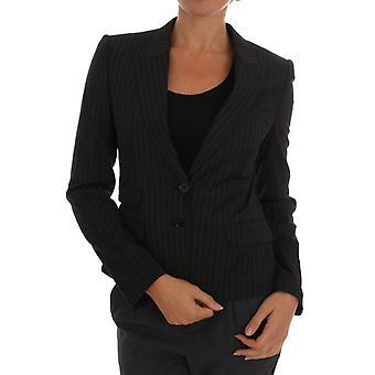 Jaqueta de blazer de lã listrada preta
