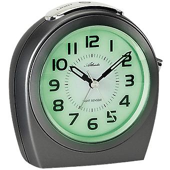 Atlanta 1668/4 Alarm clock quartz analog anthracite quiet without ticking with light sensor