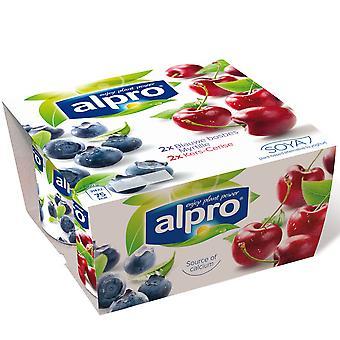 Alpro Blueberry & Cherry Mixed Soya Yogurts
