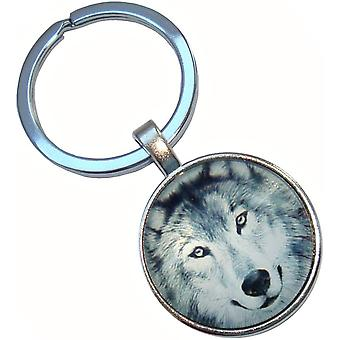 Bassin and Brown Arctic Wolf Key Ring - Grey/White