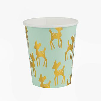 Paper Cups - GOLDEN FAWN - Pack of 8 Christmas Party Birthday