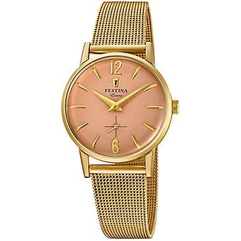 Extra Festina Quartz Analog Women's Watch with Stainless Steel Bracelet In Gold Washed F20259/2