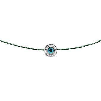 Choker Evil Eye Round Diamonds et 18K Gold, sur Thread - White Gold, Emerald
