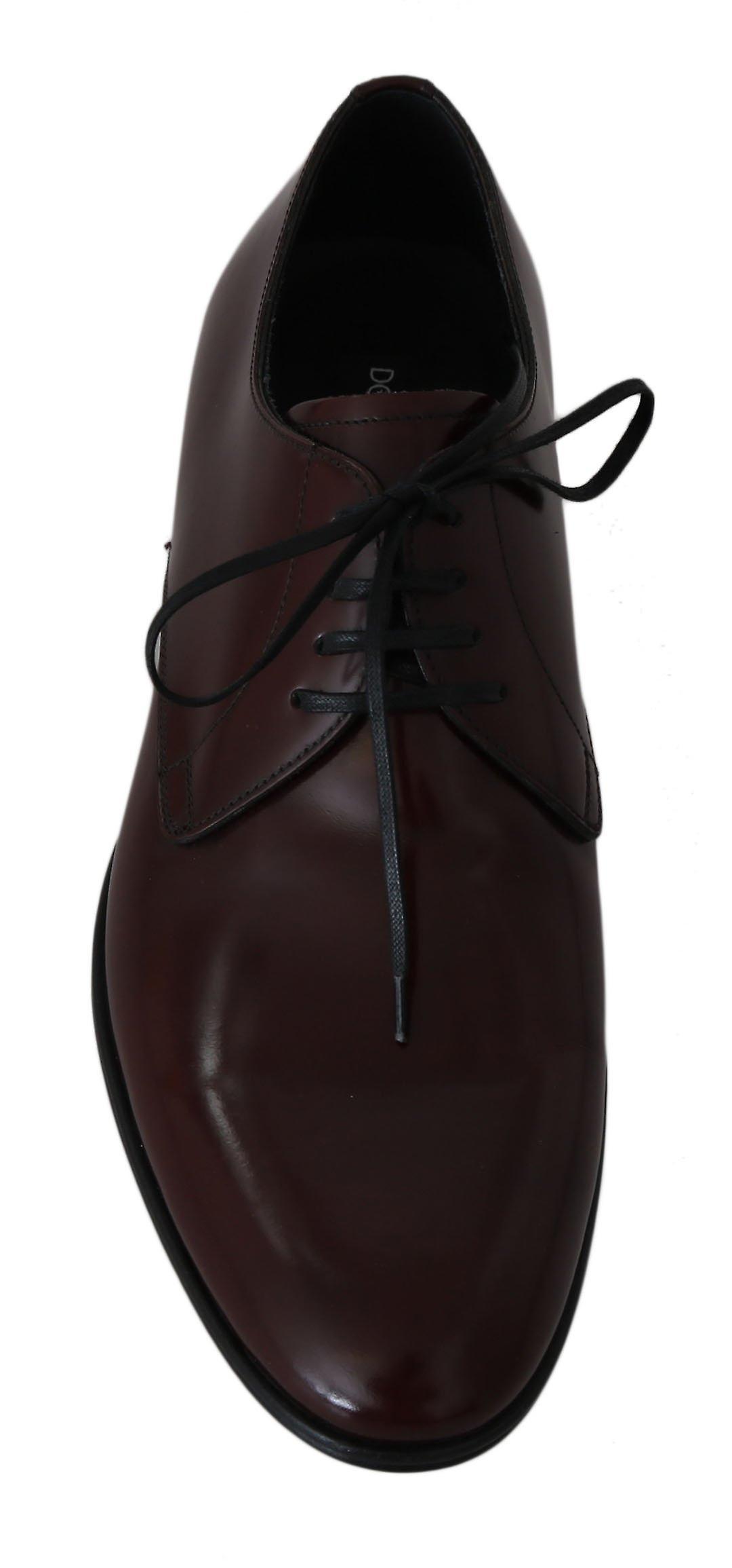 Dolce & Gabbana Red Bordeaux Leather Derby Dress Shoes MV2374-42