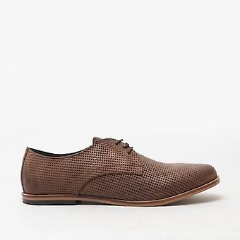 Base London Senna Mens Leather Derby Shoes Brown