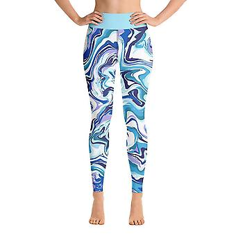 Leggings de treino | Leggings de Yoga | Fantasia | Mármore Azul