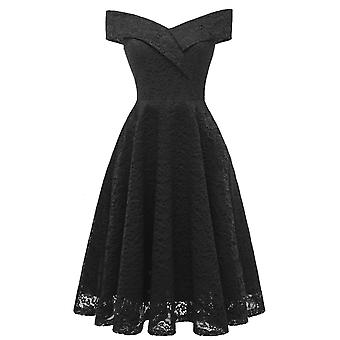 Women Short Sleeve Boat Collar Lace Floral Dress Cocktail Party Dresses