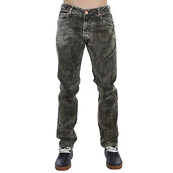 Green wash cotton stretch slim fit jeans