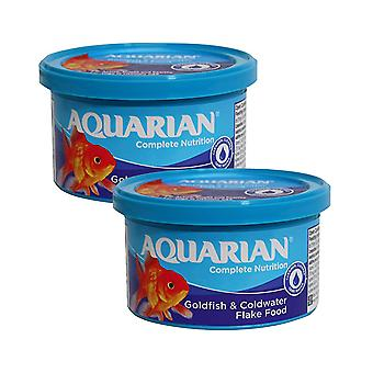2 x 50g Aquarian Fish Food Flakes Goldfish Coldwater Multi Vitamin Nutrition