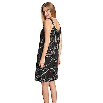 Féraud Voyage 3205201-10996 Women's Black Print Motif Kaftan Beach Dress