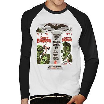 Hammer Horror Filme Doppel Spiel Frankenstein Dracula Men's Baseball langärmelige T-Shirt
