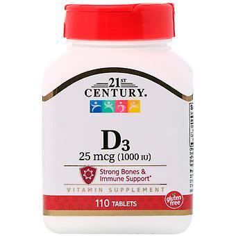 21st Century, D3, 25 mcg (1000 UI), 110 Tablettes