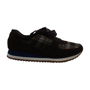 Bella Vita Emile Fashion Sneakers, Dark Brown Suede/plaid Flannel, 3.5 UK