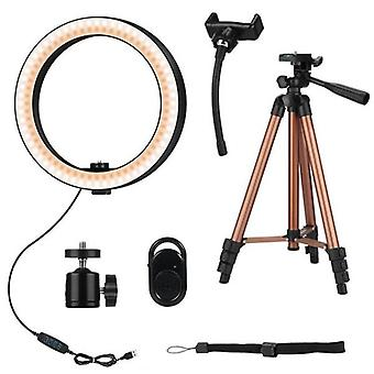 10 Inch Selfie Ring Light With 50 Inch Tripod Stand & Phone Holder For Makeup Live Stream Led Camera Ring Light With Remote Shu