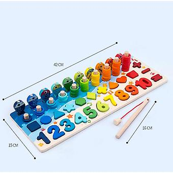 Baby Wooden Montessori Digit Magnetic Games Fishing Toys - Game Catch Worm Educational Puzzle Toys For Children Gifts