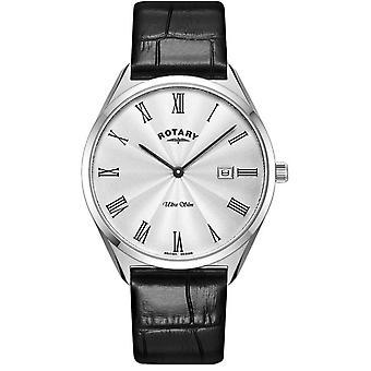 Rotary GS08010-01 Men's Ultraslim Black Leather Strap Wristwatch