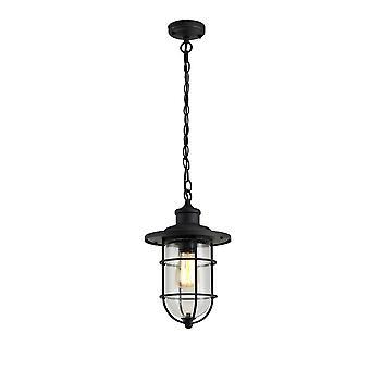Luminosa Beleuchtung - Deckenanhänger, 1 x E27, schwarz, Gold mit Gesät klar Glas, IP54