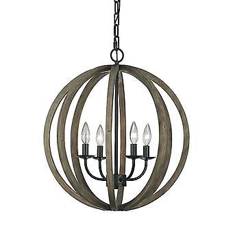 4 Lichte bolvormige Kooi plafond hanger donker hout, antiek ijzer, E14