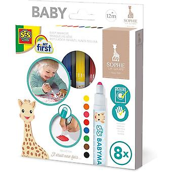 SES Creative Children's My First Sophie La Giraffe Baby Markers Set 8 Colours