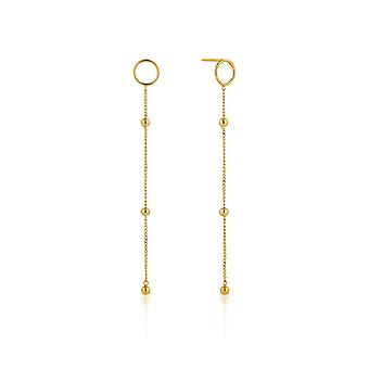 Ania Haie Silver Shiny Gold Plated Modern Beaded Drop Earrings E002-08G