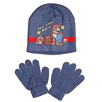 Super mario boys hat and gloves set winter
