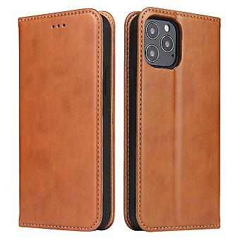 Pour iPhone 12 Pro/12 Case Leather Flip Wallet Folio Cover with Stand Brown