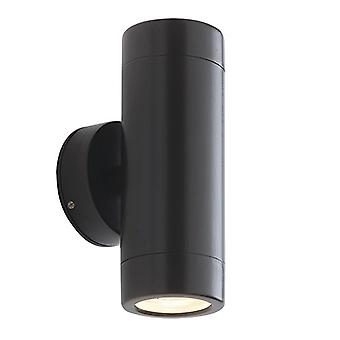 Saxby Lighting Odyssey - Outdoor Wall Lamp IP65 7W Satin Black Paint & Clear Glass 2 Light Dimable IP65 - GU10