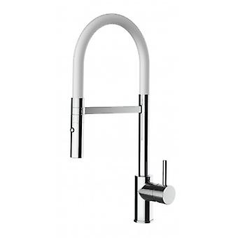 Kitchen Single-lever Sink Mixer With White Movable Spout And 2 Jets Shower - Low Version - 549