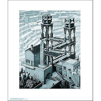 M.C. Escher kunst print vandfald lille format 35,56 x 27,94 cm