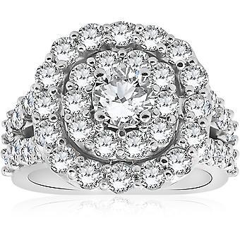 4CT Diamond Cushion Double Halo Engagement Ring 10k White Gold