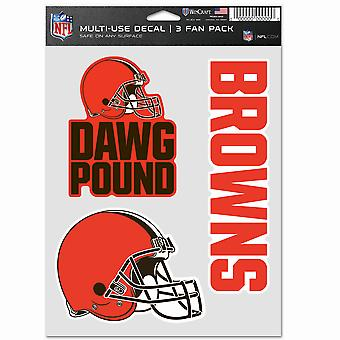 NFL Sticker Multi-Use Set of 3 20x15cm - Cleveland Browns