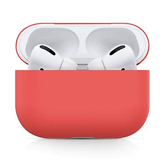 SIFREE Flexible Case for AirPods Pro - Silicone Skin AirPod Case Cover Smooth - Light Red