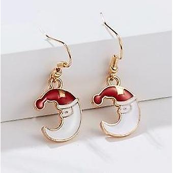 Beautiful funny moon earrings with santa hood Christmas jewelry
