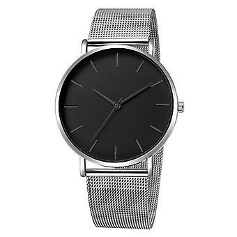 Frauen's Quarz Armbanduhr einfache Montre Femme Mesh schwarz Edelstahl