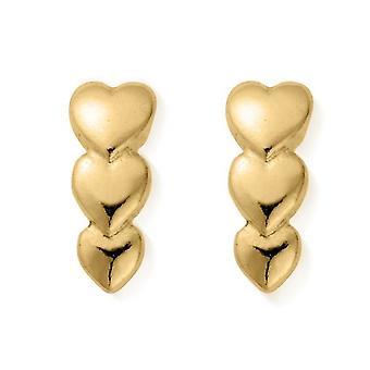 ChloBo GEST2551 Women's Gold Tone Life Lover Stud Brincos
